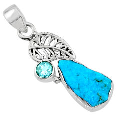 925 silver 6.83cts natural blue sleeping beauty turquoise raw pendant r66925