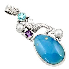 Clearance Sale- 925 silver 24.38cts natural blue swedish slag amethyst pearl fish pendant d45505