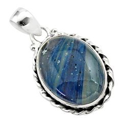 925 silver 14.20cts natural blue swedish slag oval shape pendant jewelry t38767