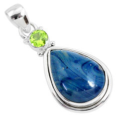 925 silver 13.15cts natural blue swedish slag pear green peridot pendant r94540