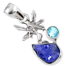 925 silver 6.19cts natural blue tanzanite rough angel wings fairy pendant r61963