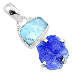 925 silver 8.49cts natural blue tanzanite raw aquamarine raw pendant t10867