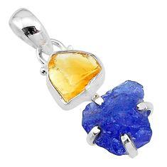 925 silver 9.19cts natural blue tanzanite raw citrine raw pendant t10885