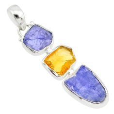 925 silver 13.63cts natural blue tanzanite raw citrine rough pendant r83069