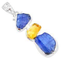 925 silver 15.55cts natural blue tanzanite raw citrine rough pendant r83090