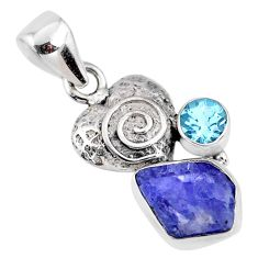 925 silver 7.15cts natural blue tanzanite rough fancy topaz heart pendant r61965