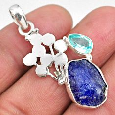 925 silver 8.80cts natural blue tanzanite rough fancy topaz pendant r62010