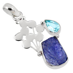 925 silver 7.60cts natural blue tanzanite rough fancy topaz pendant r62023