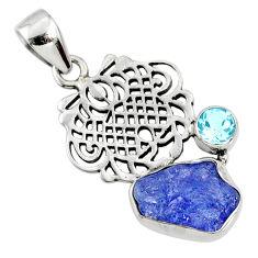 925 silver 8.94cts natural blue tanzanite rough fancy topaz pendant r65044