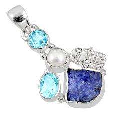 925 silver 8.44cts natural blue tanzanite rough hand of god hamsa pendant r62044