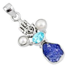 925 silver 9.05cts natural blue tanzanite rough hand of god hamsa pendant r62048