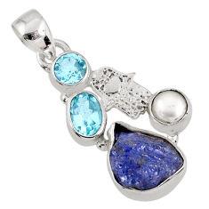 925 silver 8.77cts natural blue tanzanite rough hand of god hamsa pendant r62060