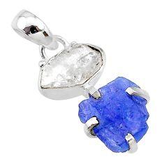 925 silver 8.69cts natural blue tanzanite raw herkimer diamond pendant t10908