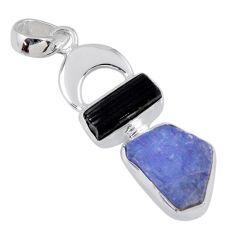 925 silver 10.24cts natural blue tanzanite rough tourmaline rough pendant r55520