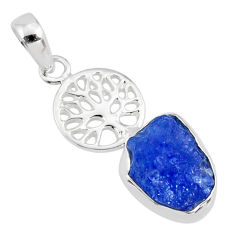 925 silver 6.82cts natural blue tanzanite raw tree of life pendant r80888