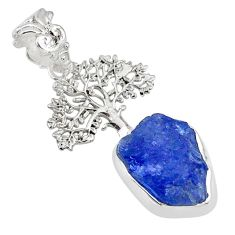925 silver 7.04cts natural blue tanzanite raw tree of life pendant r80891