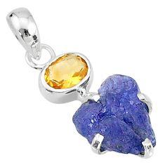 925 silver 6.51cts natural blue tanzanite raw yellow citrine pendant t6997