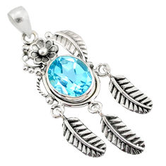 925 silver 5.18cts natural blue topaz oval shape dreamcatcher pendant r67804