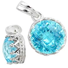 925 silver 4.71cts natural blue topaz round shape pendant jewelry t12180