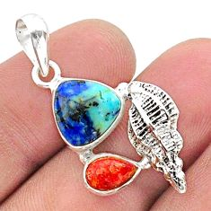 925 silver 6.10cts natural blue turquoise azurite coral seashell pendant t38340