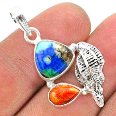 925 silver 7.17cts natural blue turquoise azurite coral seashell pendant t38389