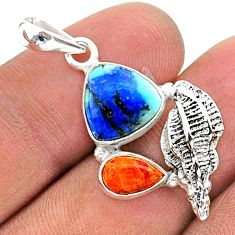 925 silver 7.82cts natural blue turquoise azurite coral seashell pendant t38392