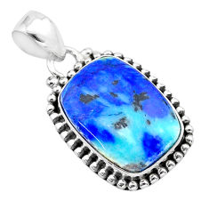 925 silver 13.47cts natural blue turquoise azurite octagan pendant t37455