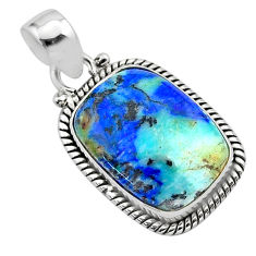925 silver 13.29cts natural blue turquoise azurite octagan shape pendant t37451