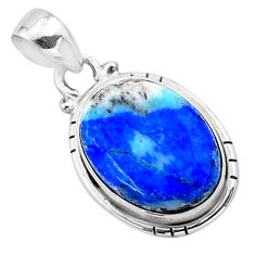 925 silver 12.89cts natural blue turquoise azurite oval shape pendant t37463