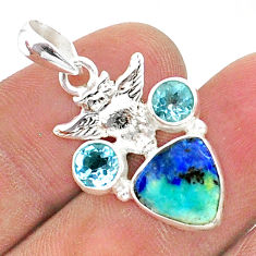 925 silver 6.74cts natural blue turquoise azurite topaz owl pendant t38354