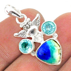 925 silver 6.22cts natural blue turquoise azurite topaz owl pendant t38360