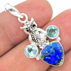 925 silver 5.84cts natural blue turquoise azurite topaz owl pendant t38373