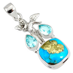 925 silver 9.39cts natural blue turquoise pyrite angel pendant r78086