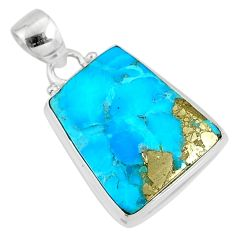 925 silver 12.58cts natural blue turquoise pyrite fancy pendant r78199