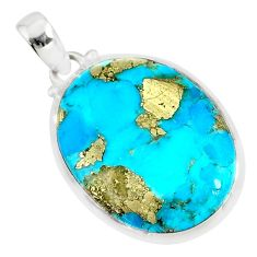 925 silver 16.85cts natural blue turquoise pyrite oval pendant r81140