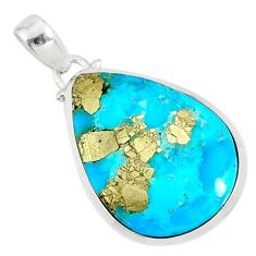 925 silver 18.28cts natural blue turquoise pyrite pear pendant r81124