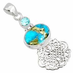 925 silver 6.84cts natural blue turquoise pyrite topaz pendant r78090