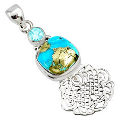 925 silver 7.66cts natural blue turquoise pyrite topaz pendant r78097