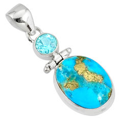925 silver 11.18cts natural blue turquoise pyrite topaz pendant r78230