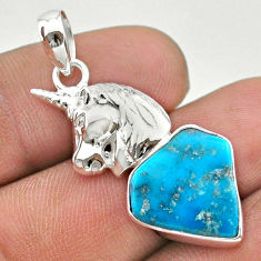 925 silver 10.02cts natural blue turquoise unicorn handmade pendant t31064