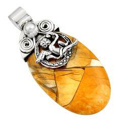 925 silver natural brecciated mookaite (australian jasper) angel pendant d45579