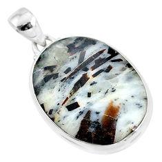 925 silver 21.48cts natural bronze astrophyllite (star leaf) oval pendant r95964