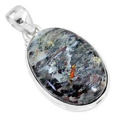 925 silver 20.15cts natural bronze astrophyllite (star leaf) oval pendant r96010