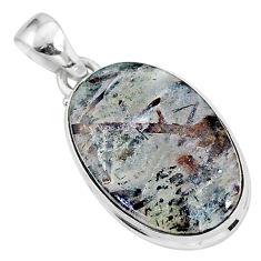 925 silver 15.55cts natural bronze astrophyllite (star leaf) oval pendant r96044
