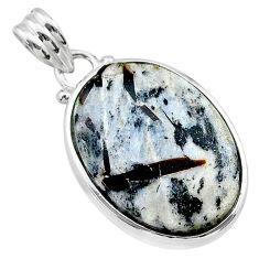 925 silver 16.94cts natural bronze astrophyllite (star leaf) oval pendant t22734