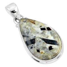 925 silver 15.55cts natural bronze astrophyllite (star leaf) pear pendant r96036