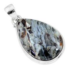 925 silver 18.65cts natural bronze astrophyllite (star leaf) pear pendant r96047