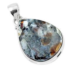925 silver 15.72cts natural bronze astrophyllite (star leaf) pear pendant r96050