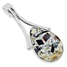 925 silver 14.45cts natural bronze astrophyllite (star leaf) pear pendant t22723