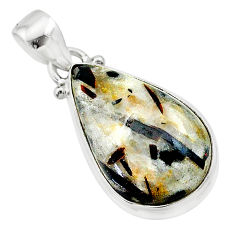 925 silver 13.15cts natural bronze astrophyllite (star leaf) pear pendant t22725